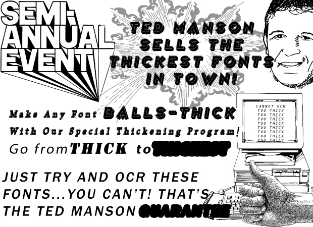 Flier for Ted Manson Fonts Semi-Annual Sale, 1993