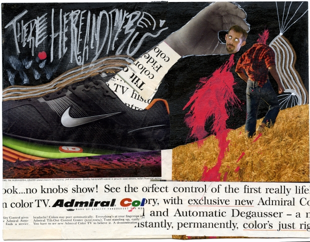 Collage of a giant sneaker ripping the head off of a jerk