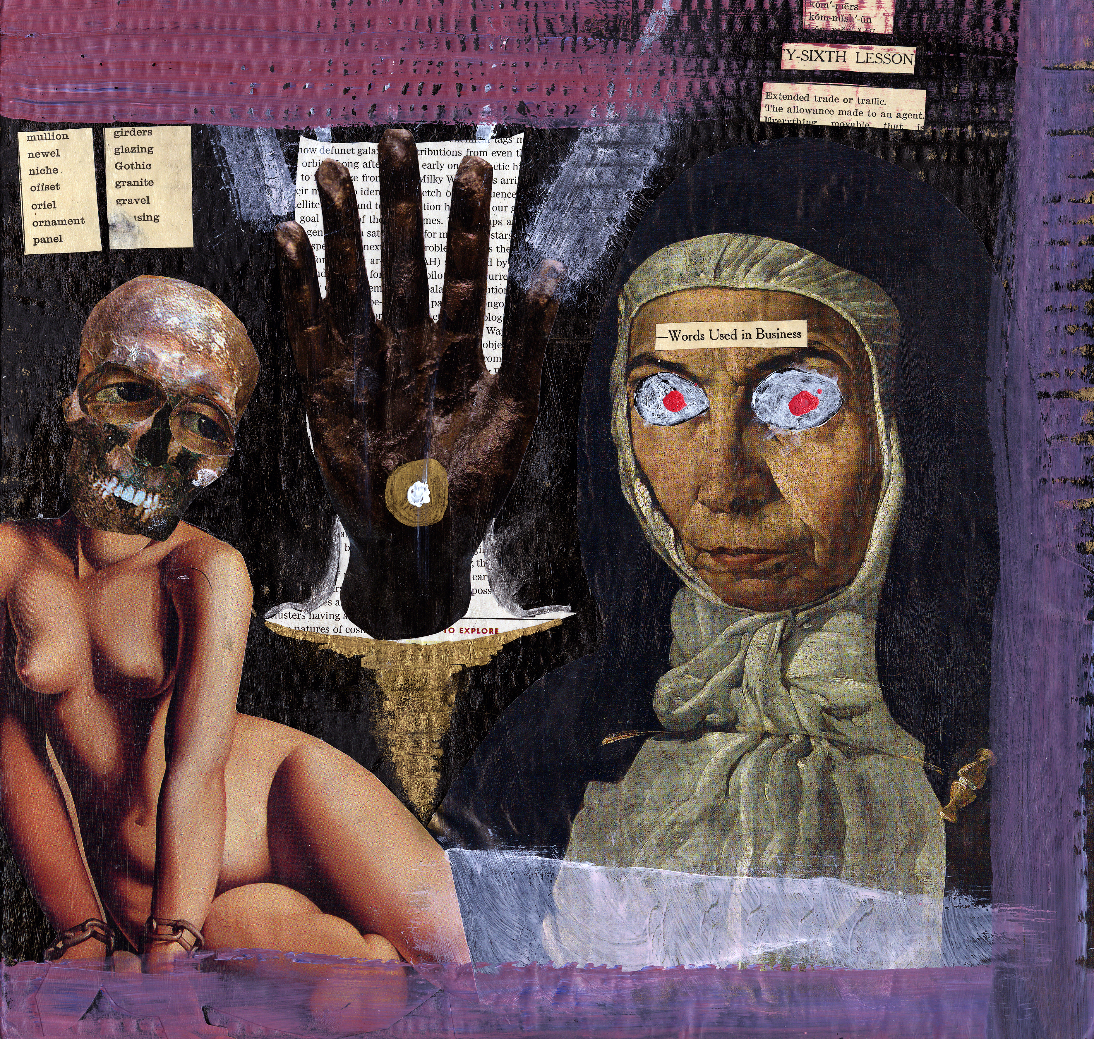 A fucking batshit collage featuring a nude model with a skeleton head and a laser-eyed nun